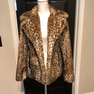 via spiga faux fur leopard print jacket